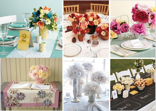 Paper wedding flowers- affordable wedding reception centerpieces