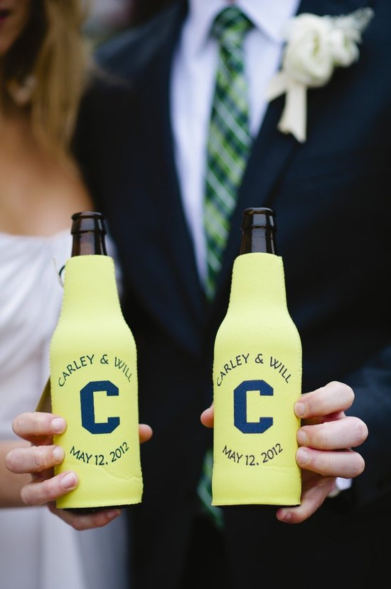 yellow and navy custom koozie wedding favors