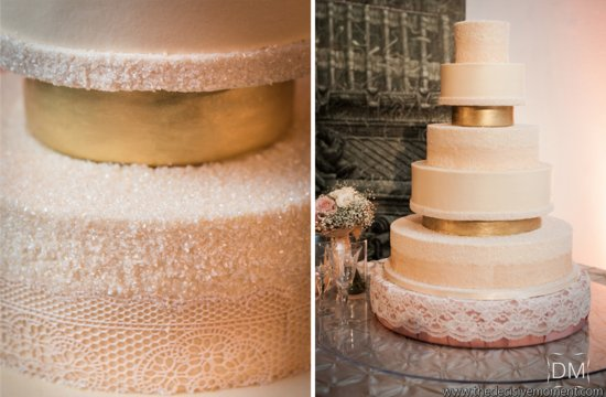 Elegant wedding cake with tiers of gold and lace