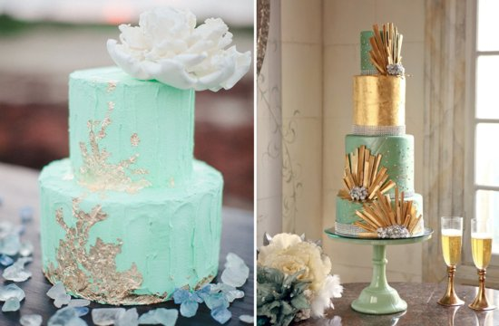 Mint green and gold wedding cakes