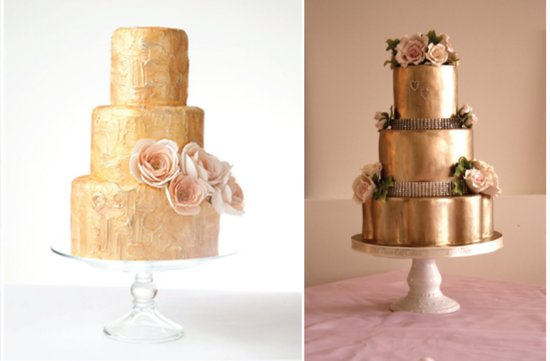 Gold shimmery wedding cakes