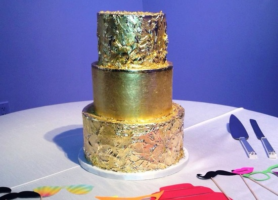 Gold leaf 3 tier wedding cake