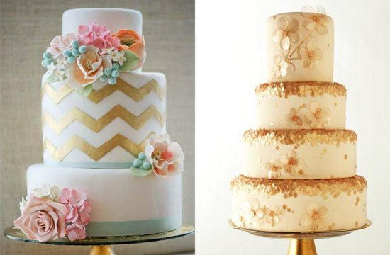 Awesome gold flecked wedding cakes