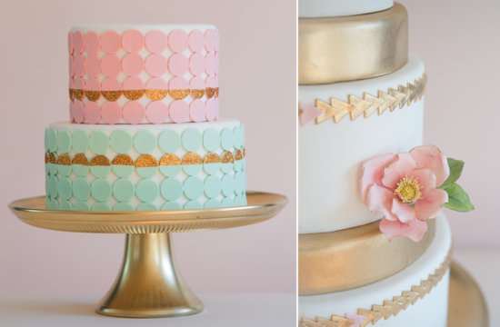 Gold with pastels whimsical wedding cakes