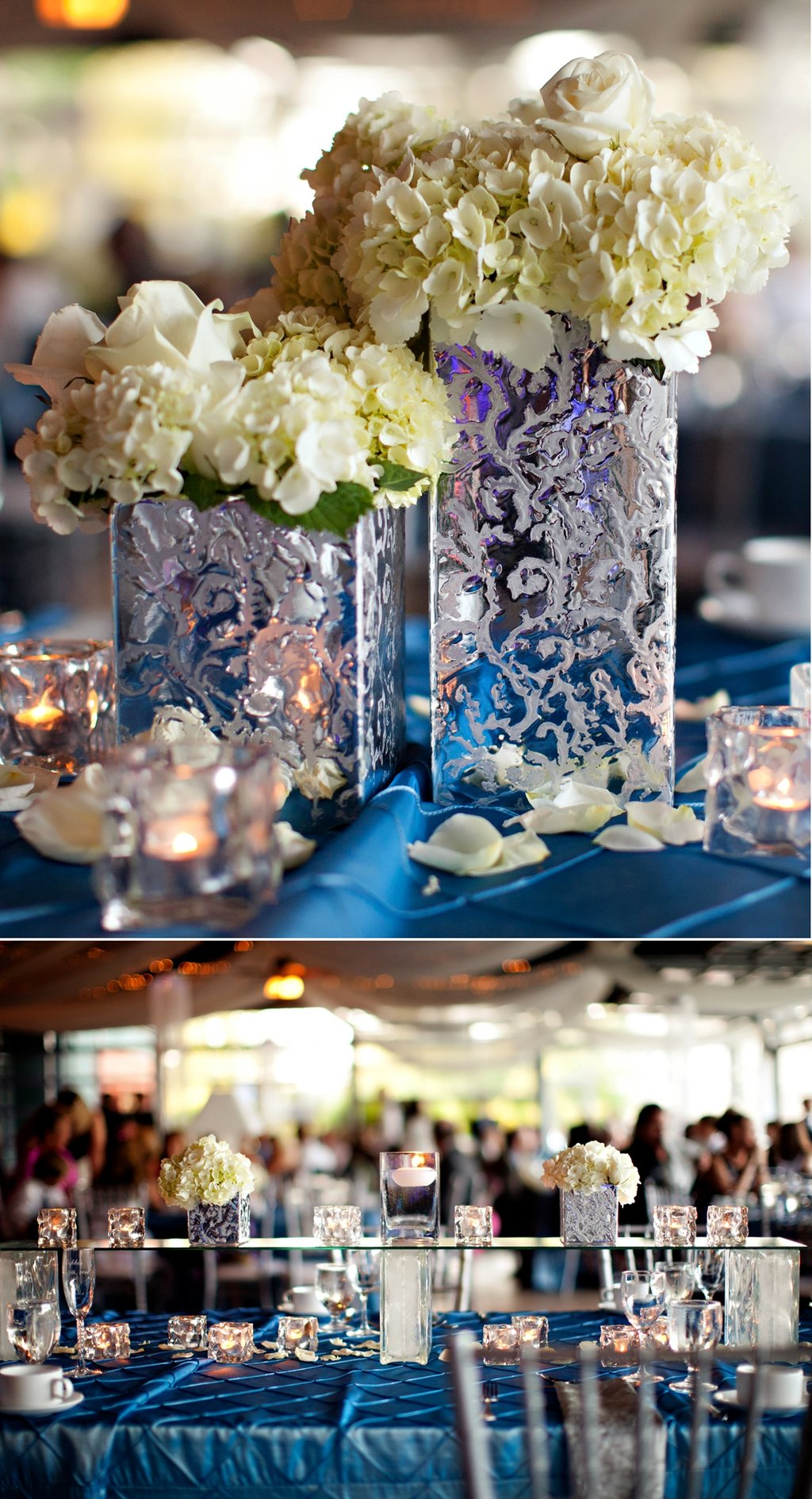 Elegant Spring Wedding With Blue Silver Ivory Color Palette Flower Centerpieces