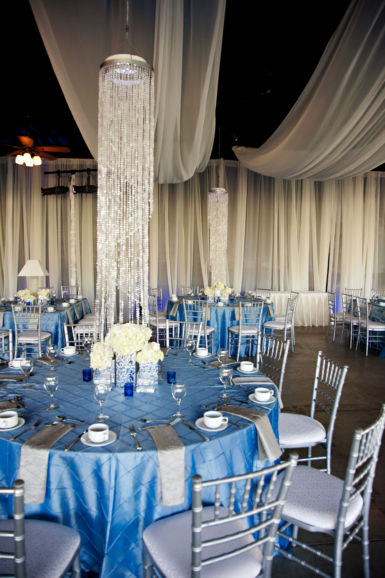 blue silver ivory wedding color palette wedding venue decor