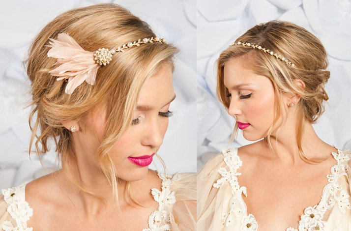 Tessa Kim wedding hair accessories and veils, blush pink bridal feather fascinator