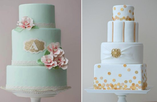 Mint and white wedding cakes with gold accents
