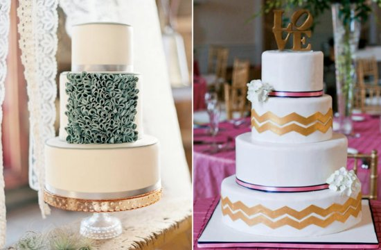 Wedding cakes with ribbons of silver and gold