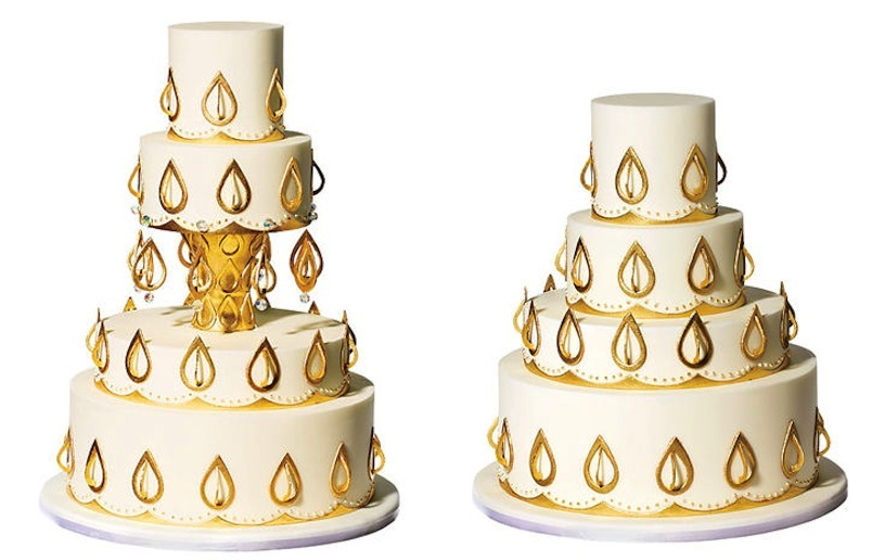 Gold-and-cream-culture-infused-wedding-cake.full