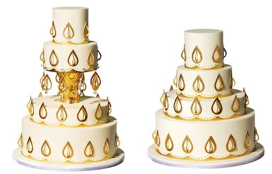 Gold and cream culture infused wedding cake