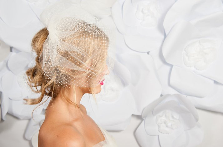 Tessa Kim wedding hair accessories and veils, Double layer birdcage veil