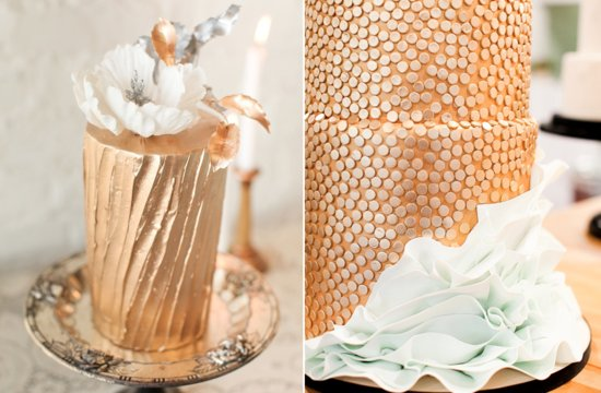 Gold dripped wedding cakes for glamorous brides