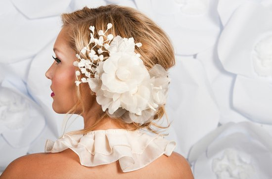 Tessa Kim wedding hair accessories and veils, Ava bridal flower