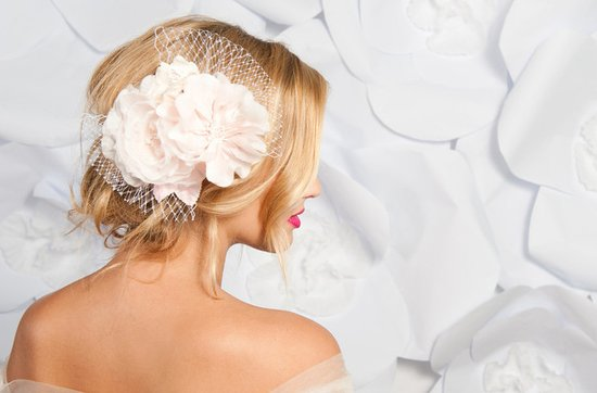 Tessa Kim wedding hair accessories and veils, Lyda hair flower and bridal veil