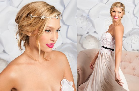 Tessa Kim wedding hair accessories and veils, rhinestone floral headband