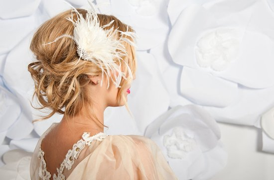 Tessa Kim wedding hair accessories and veils, Belle feather fascinator