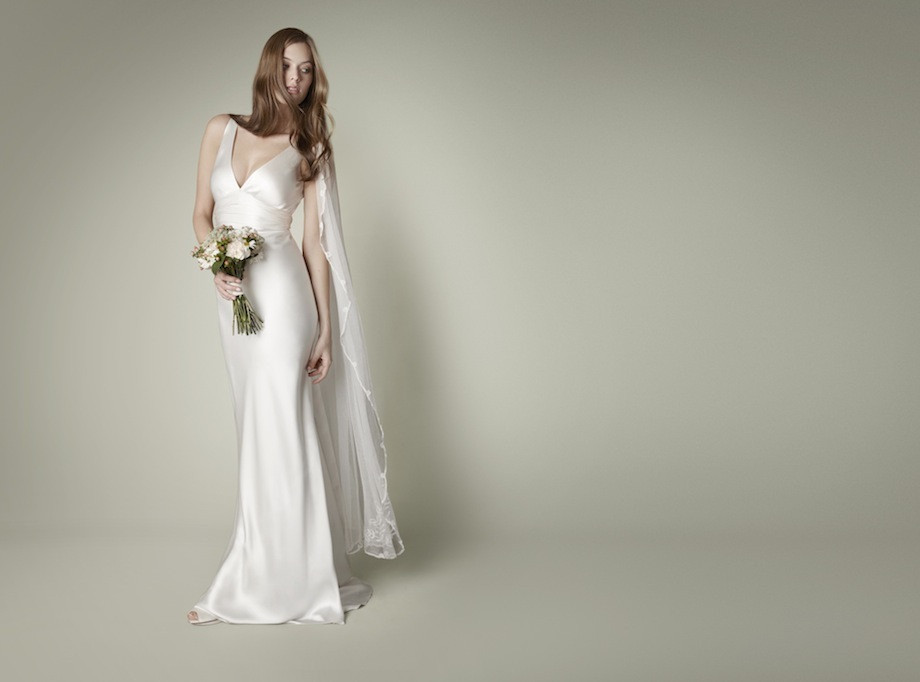 Vintage silk wedding dress for old hollywood glam brides for Old hollywood wedding dress