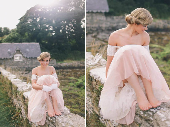 Off the shoulder blush pink vintage wedding dress