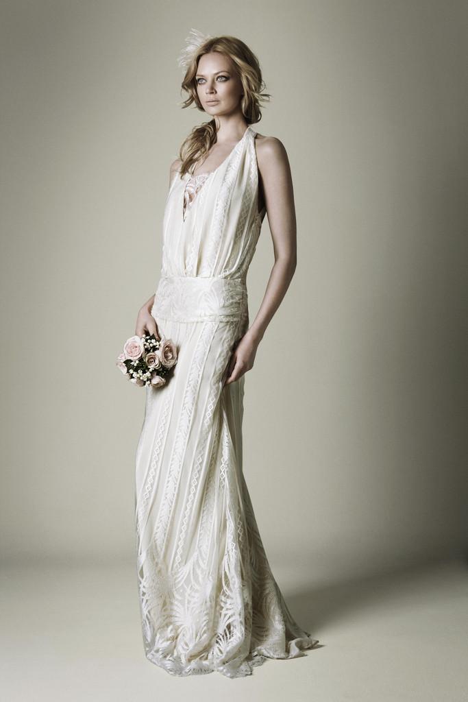 1920s Ivory Lace Wedding Dress With Halter Neckline
