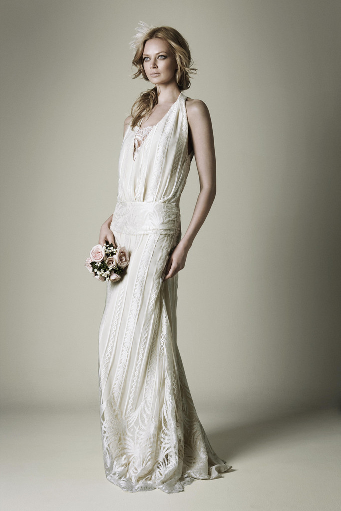 1920s ivory lace wedding dress with halter neckline