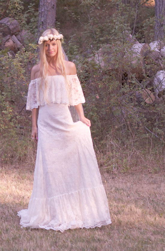 1970s vintage lace wedding dress