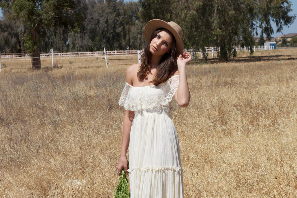 1970s vintage bohemian wedding dress with lace neckline for 1970 s style wedding dresses