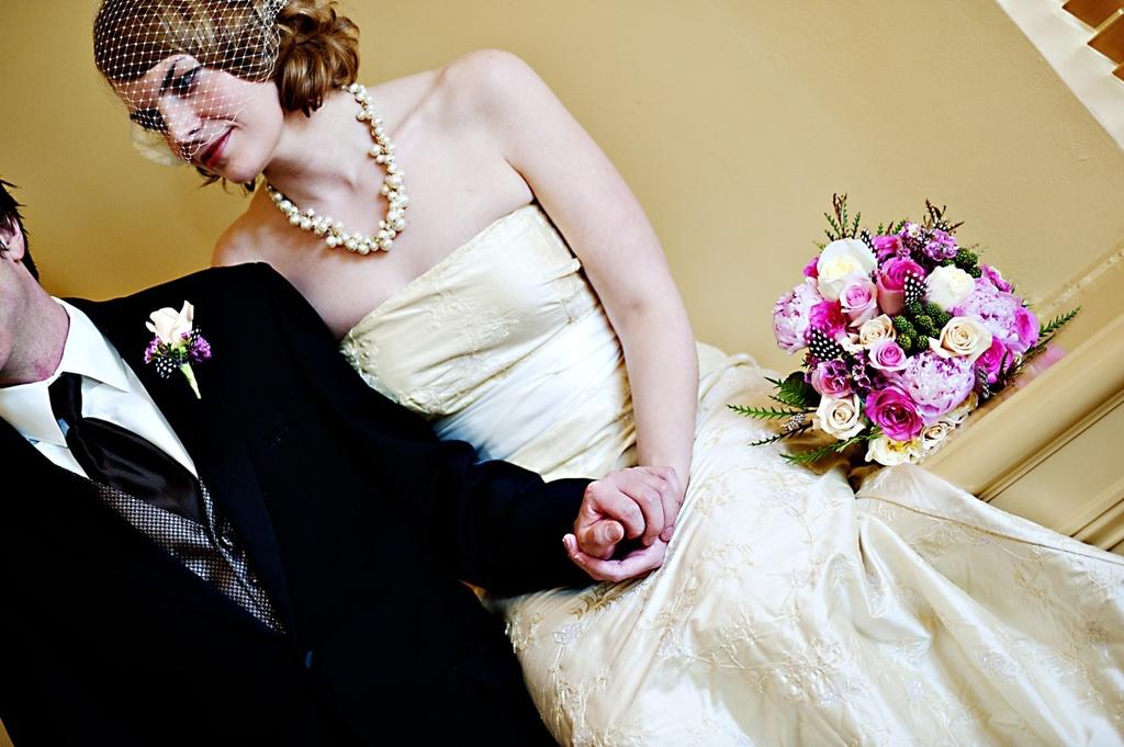 Real-weddings-winter-wedding-reception-bridal-bouquet-vintage-wedding-dress.full