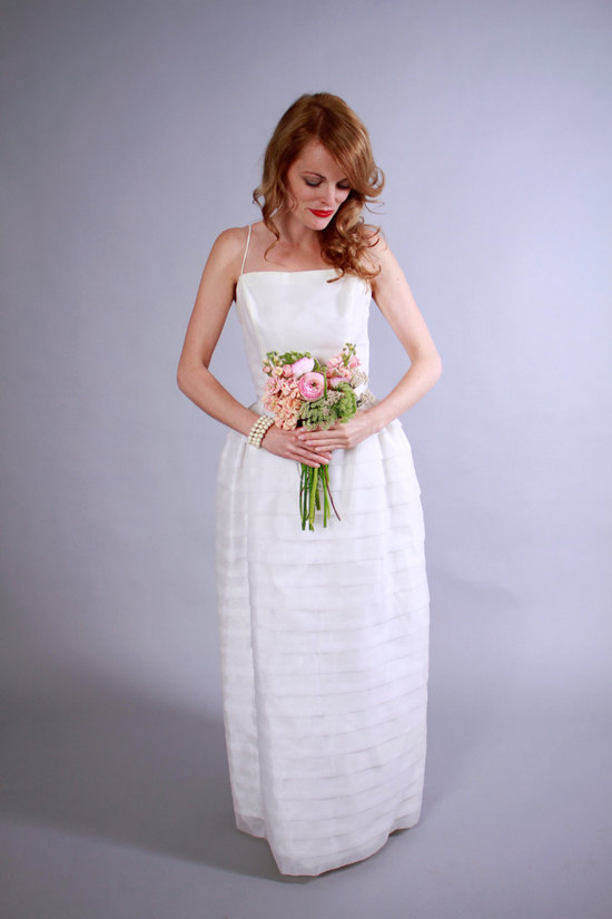 1960s chiffon and tulle wedding dress