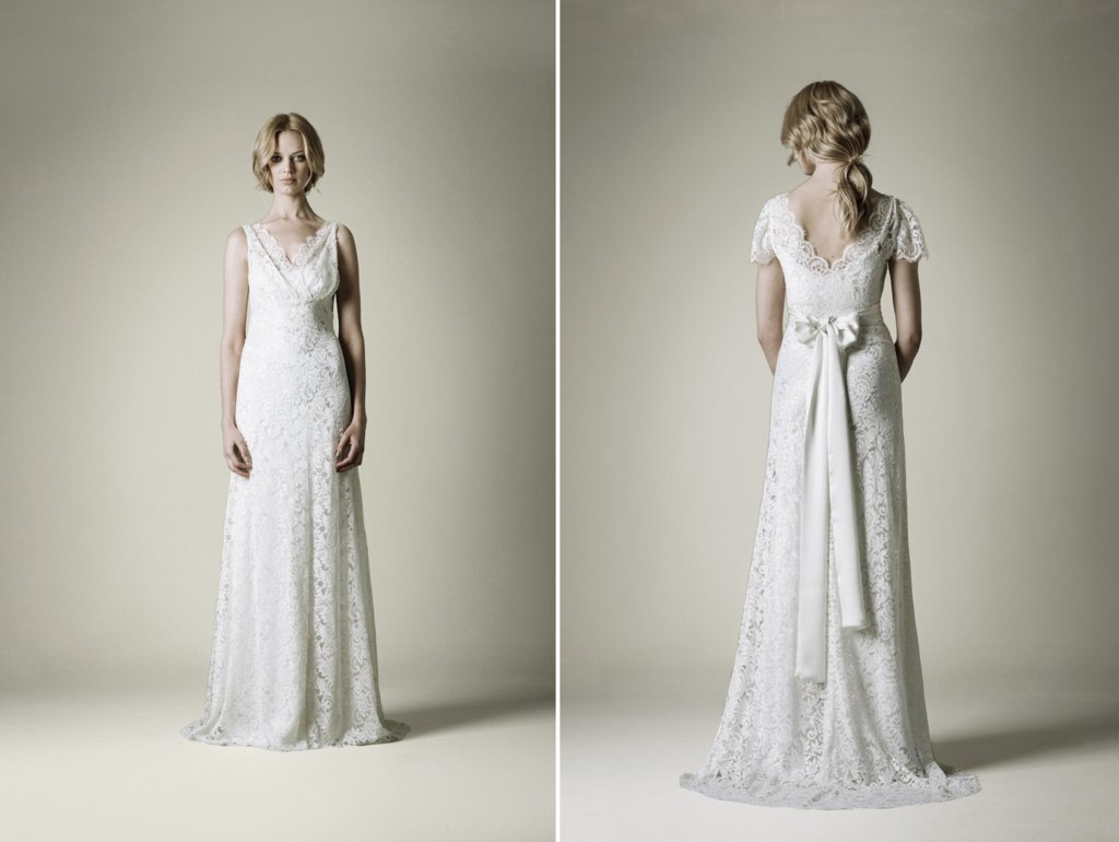 1930s lace vintage wedding dress with sash