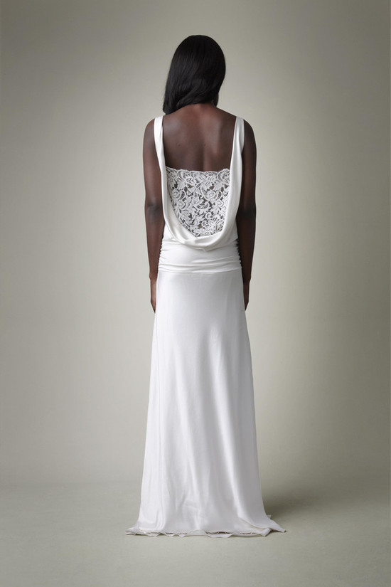 White silk vintage wedding dress with lace statement back