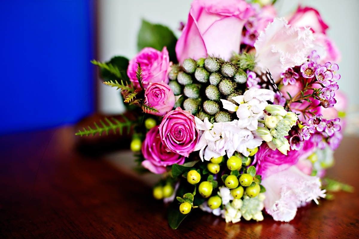 Winter wedding in seattle bright hot pink bridal bouquet for Bright wedding bouquet