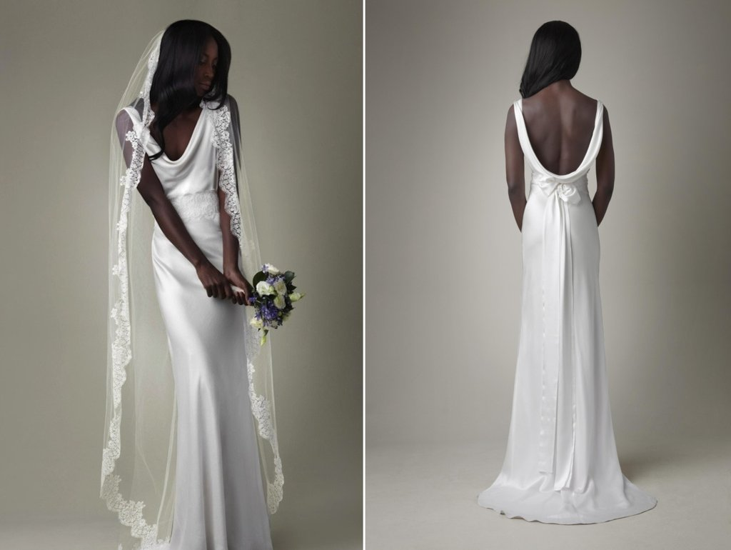 Simple white silk mermaid wedding dress with open back for Simple white dresses for wedding
