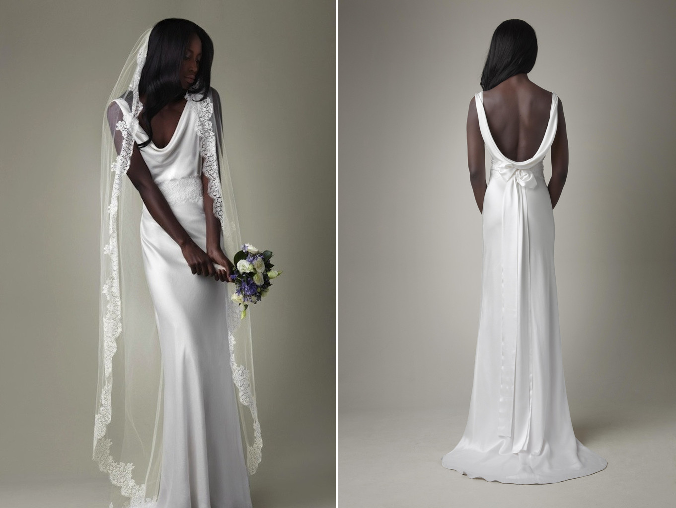 simple white silk mermaid wedding dress with open back With white silk wedding dress