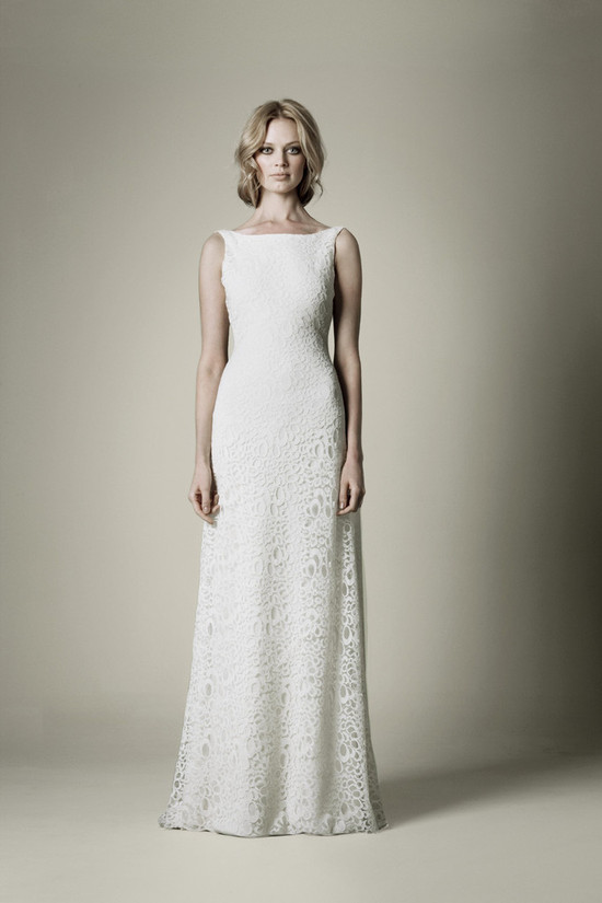 1960s wedding dress with lace over crepe