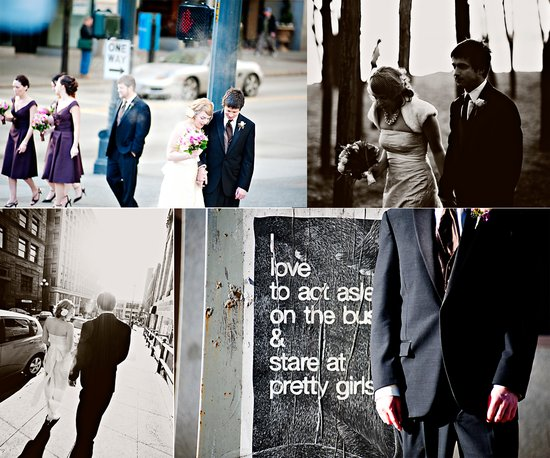 winter wedding in Seattle- outdoor wedding photos with bridal party