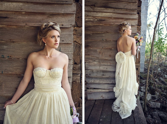 Organic linen and vintage lace wedding dress