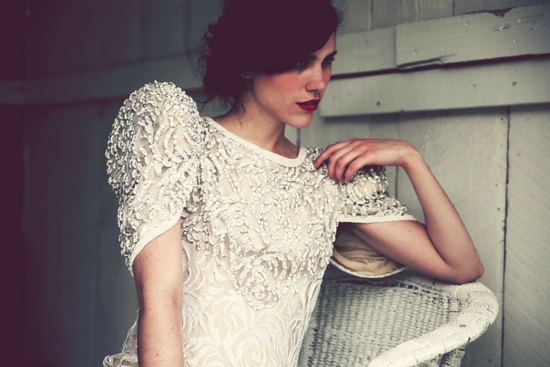 1980s dramatic beaded wedding dress with sleeves