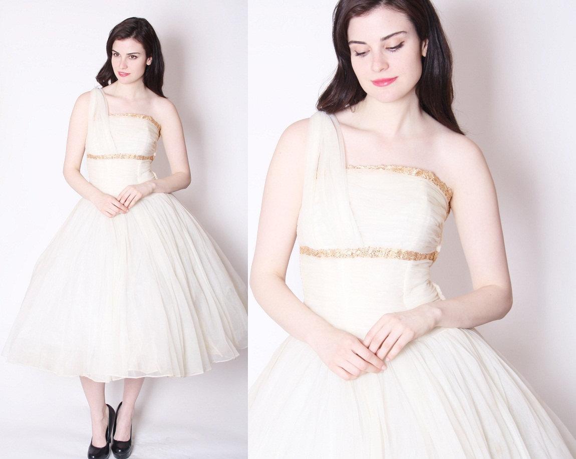 1950s one shoulder tea length wedding dress for One shoulder tea length wedding dress