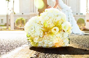 photo of White + Yellow Bridal Bouquets