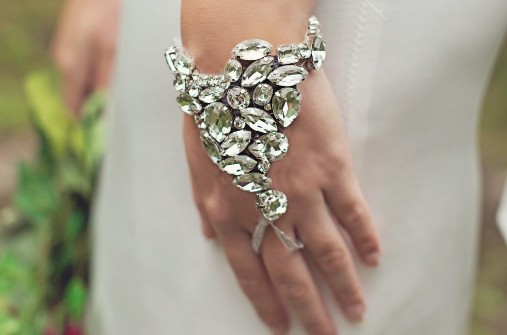 crystal bridal hand cuff wedding jewelry