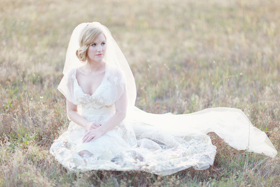 real bride wearing vintage inspired claire pettibone wedding dress