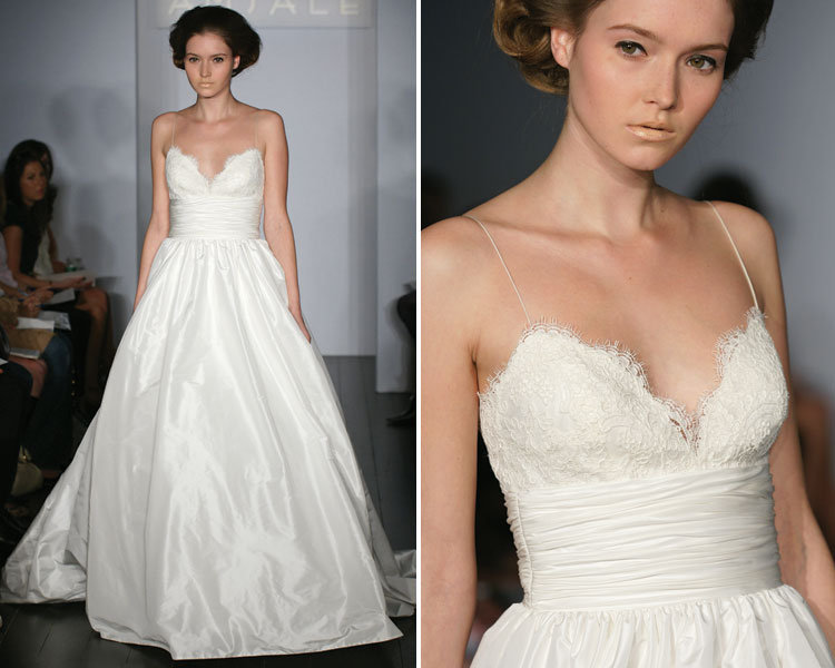 Amsale coco lace and taffeta wedding dress for Amsale aberra wedding dresses