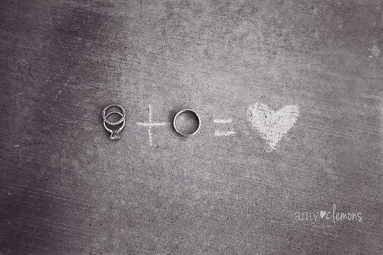 Chalkboard inspired wedding rings photo