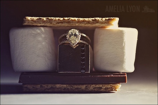 pear shaped engagement ring nestled in a smore