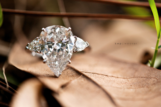Stunning diamond engagement ring shot on a leaf