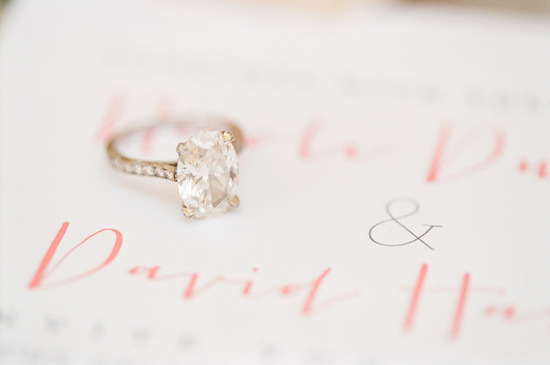 Classic oval shaped engagement ring shot on romantic invitations