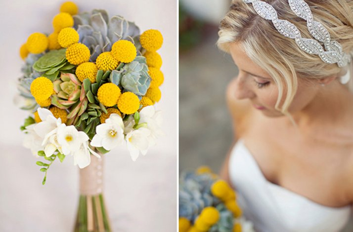 White and yellow bridal bouquet, wedding flowers 9