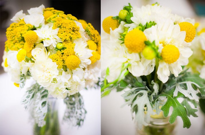 White and yellow bridal bouquet, wedding flowers 4