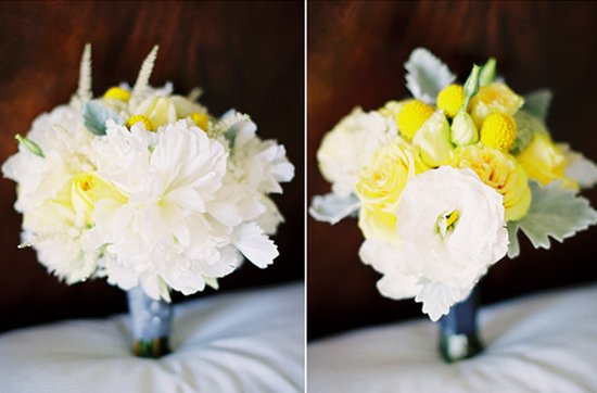 White and yellow bridal bouquet, wedding flowers 3